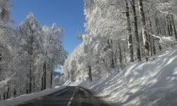 Route du col de la Schlucht lors des chutes de neige de novembre 2015