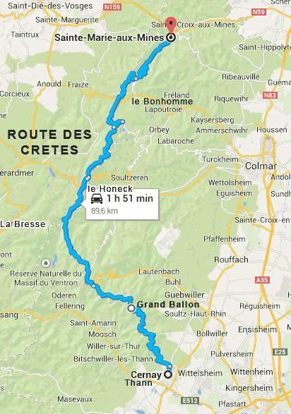 carte itinéraire route des crêtes