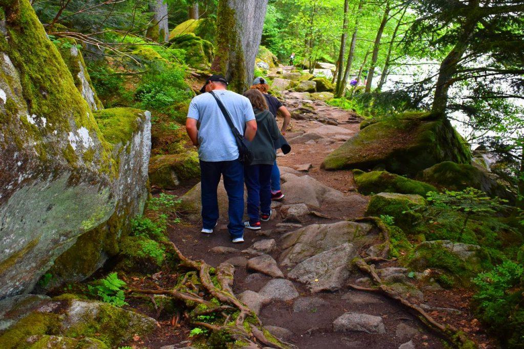 sentier avec passage technique pour faire le tour du lac de Gérardmer